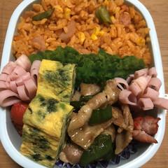 お弁当/ほうれん草卵焼き/ピーマンとフダ肉炒め/花ハム/赤ウインナー/ケチャップご飯 今日のお弁当🍱