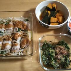 つまみ菜/モヤシと豆苗/カボチャ/レンチン 本日の夕飯です。 モヤシと豆苗を豚バラで…