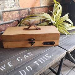 収納箱/セリア/100均/DIY/収納/雑貨 靴のお手入れグッズを収納。 セリアの木製…