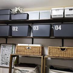 ステンシル/収納ケース/男前インテリア/スクエア収納BOX/ダイソー/洗面所インテリア/... 洗面所の棚 収納の見直し ダイソーのスク…