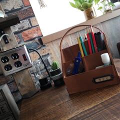 セリア/ペンケース/文房具収納/収納/簡単/DIY/... 100均DIY。 木製デスクラックでペン…(1枚目)
