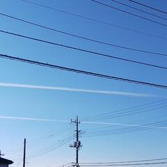 来年の干支/亥/飛行機雲/空/陶芸/陶器 おはようございます🎵 今日は車の温度が5…