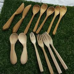 木製/カラトリー/DIY/キッチン/ハンドメイド 私の手作り応募します~  木のカラトリー…