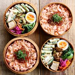 ランチボックス/ランチ/わっぱ弁当/お弁当箱/曲げわっぱ/お弁当/... Today's lunch  鮭のイクラ…