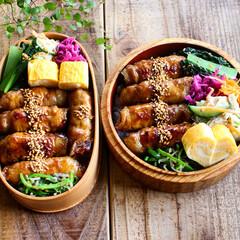 lunchbox/曲げわっぱ/ランチ/お弁当/グルメ/フード/... キャベツの肉巻き弁当