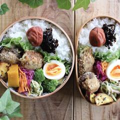 わっぱ弁当/lunch/ランチ/お弁当箱/曲げわっぱ/お弁当/... 今日のお弁当。   ピーマンと椎茸の肉詰…