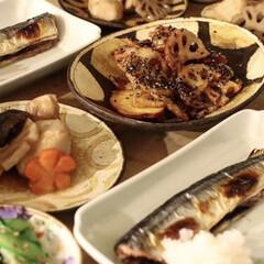 夕飯/晩御飯/市岡泰/和食/グルメ/フード/... Today's dinner  焼き秋刀…
