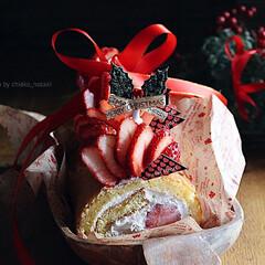 イチゴ/いちご/ロールケーキ/ケーキ/ストロベリー/クリスマス/... いちごたっぷりのいちごのロールケーキ♡*…