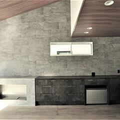 暖炉/バイオエタノール暖炉/グラフテクトキッチン/おしゃれなリビングダイニング/注文住宅/デザイナーズ住宅/... ビルトインガレージは3台に、合わせて玄関…