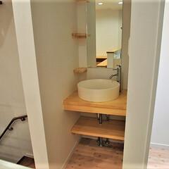 造り付け洗面化粧台/洗面ボール/造作 キッチン横のスペースに簡易型の洗面所を造…