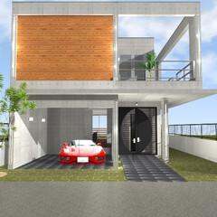 RC造/鉄筋/コンクリート/ガレージハウス 滋賀県和邇南浜住宅街-視線を遮るため道路…