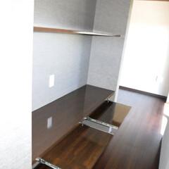 造作/PDデスク/キーボード収納/造り付けデスク/注文住宅/デザイン/... 寝室の入り口通路にPCデスクを造作 簡単…