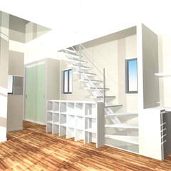 収納/造作/スペース/モダン/デザイン 階段の手すり変わりに収納棚を造作