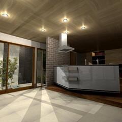 屋根/トーヨーキッチン/TOYOキッチン/キッチン/床材/モダン/... 片流れの屋根と箱型の建物をあわせた外観、…