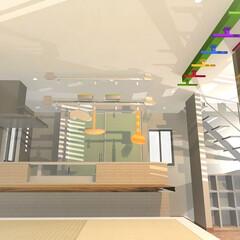 引き出し収納/小上がり/畳こーなー/モダン/デザイン/注文 キッチンに対面するダイニング床を小上がり…