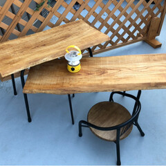 リメイクDIY/一枚板のテーブル/ベランピング 要らなくなったエレクトーンの脚を使ってず…