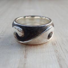 波/指輪/リング 幅:約9.5ミmm 厚:約3.0ミリ S…