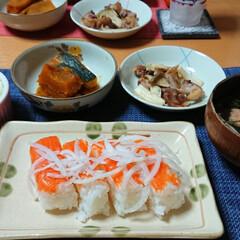 かぼちゃの煮物/おうちごはん/サーモンの押し寿司/押し寿司/ごはんメモ/鮭のつみれ汁/... 今夜のごはん📝 *サーモンの押し寿司 *…