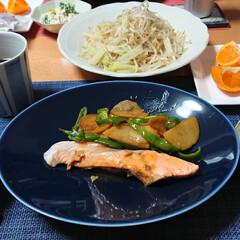 もやし炒め/十六穀米/せとか/白和え/ブロッコリーの白和え/鮭のわさび醤油焼き/... 今夜のごはん📝 *鮭のわさび醤油焼き *…