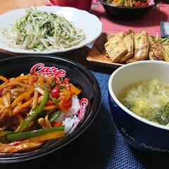 ご飯がすすむおかず/簡単スープ/高野豆腐/野菜たっぷりスープ/チンジャオロース/チンジャオロース丼/... 昨日の晩ごはん📝 *チンジャオロース丼 …(1枚目)