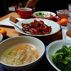 真穴みかん/野菜たっぷりスープ/唐揚げアレンジ/酢鶏/つや姫/ごはんメモ/... 昨日の晩ごはん📝 *唐揚げののこりで酢鶏…