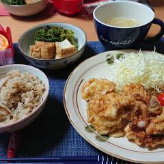 ヤマキ 割烹白だし / ヤマキ(めんつゆ、そばつゆ)を使ったクチコミ「今夜のごはん📝 *いつもの鶏天 *菜の花…」(1枚目)