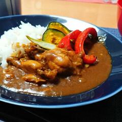 圧力鍋レシピ/カレー/つや姫/ごはんメモ 昨日のごはん📝 手羽元カレーと焼き野菜🎃…