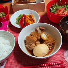 ごはんメモ/つや姫/うなぎ/お皿収納/土用の丑の日 今夜のごはん📝 にんにく煮豚 焼きパプリ…