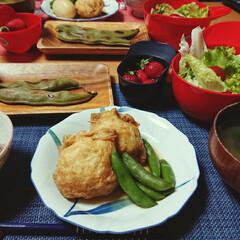 ごはんメモ/おうちごはん 今夜のごはん📝 鶏ひき肉の巾着煮 サラダ…