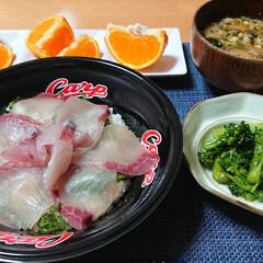 つや姫/スティックセニョール/はまち/ほまち丼/みかん食べ比べ/ごはんメモ 今夜のごはん📝 *はまち丼 *味噌汁 *…