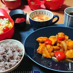 おうちごはん/ごはんメモ 酢鶏 トマトの中華スープ🍅 十六穀ごはん…
