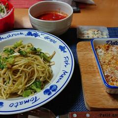 簡単スープ/スコップコロッケ/ブロッコリーパスタ/リメイク料理/煮物リメイク/おうちごはん/... 今夜のごはん📝 *ブロッコリーとエリンギ…