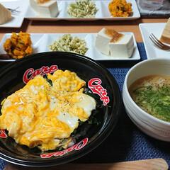 ヤマキ 割烹白だし1000ml ×2本(だし、ブイヨン、がらスープ)を使ったクチコミ「今夜のごはん📝 *ニラ玉丼 *3種盛り …」