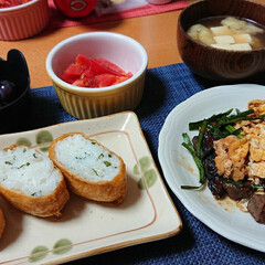 レバニラ炒め/いなり寿司/つや姫/ごはんメモ/おうちごはん 今夜のごはん📝 *レバニラ炒め *わさび…