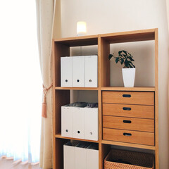 収納アイデア/収納術/収納棚/心地よい部屋/心地よい暮らし/心地よい/... 無印良品ファイルボックスと、スタッキング…