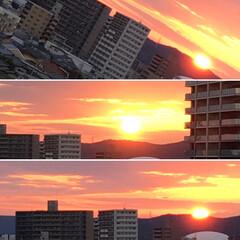 風景 澄み切った西の空に静かに夕陽が沈んでいき…