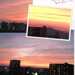 風景 今日の夕焼けはとっても赤々と空が染まって…