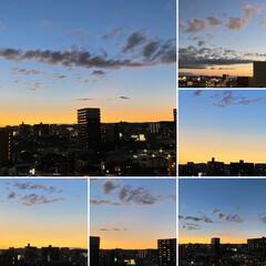 空/夕日 すっかり日没ですね💕 今日も1日お疲れ様…
