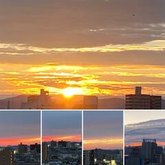 空/夕日 4連休の初日の朝陽🌄と夕焼け🌇 素敵な週…(1枚目)