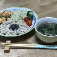 簡単レシピ/夕ご飯/スープ/青梗菜/エビチリ/中華 いつの日かの夕ご飯!サラダはまたまた、ア…