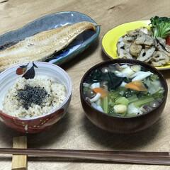 和食/具沢山味噌汁/蓮根/簡単レシピ/時短レシピ いつの日かの夕ご飯!メインは、ホッケ!焼…