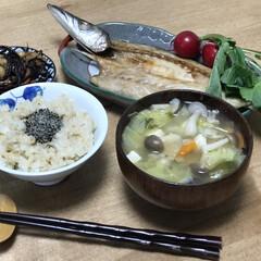 ひじき煮/干物/時短レシピ/夕ご飯 いつの日かの夕ご飯。メニューは、カマスの…