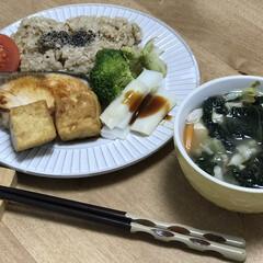 厚揚げ/鰤/夕ご飯/味噌汁/時短料理/簡単料理 いつの日かの夕ご飯!ブリだけだと物足りな…
