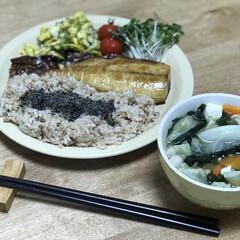 夕ご飯/おかひじき/卵/サバ/時短料理 いつの日かのダイエットコーチの夕ご飯!メ…