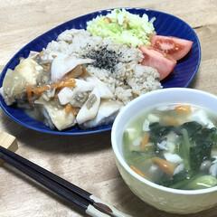 トマト/モウカサメ/夕ご飯/味噌汁 いつの日かの夕ご飯!もうかさめとイカの甘…