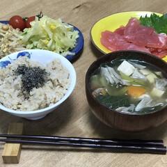 簡単レシピ/時短レシピ/もやし/大豆/卵/刺身/... いつの日かの夕ご飯!刺身だけだとタンパク…