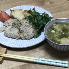 コーン/芽キャベツ/スープ/タラ/夕ご飯/簡単レシピ いつの日かの夕ご飯!タラのパン粉焼き!オ…
