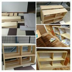 本棚DIY/DIY/キッチン 本棚を作成しました カウンターの下スペー…