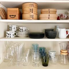 イッタラ カルティオ レイン 951201 タンブラー 210ml 2個入り   イッタラ(コップ、グラス)を使ったクチコミ「食器棚の様子。上の段にはあまり使わないけ…」(1枚目)