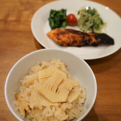 旬を活かした食事/季節のごはん/北欧食器/ティーマ/おすすめアイテム/暮らし 夕飯に筍の炊き込みご飯を作りました。旬の…(1枚目)